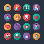 pic of hospitals  - Set of medical healthcare icons and doctor hospital avatars with nurse heart isolated vector illustration - JPG
