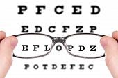 Sight Test Seen Through Eye Glasses