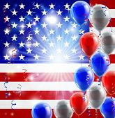 stock photo of veterans  - A patriotic American USA 4th July or veterans day background with red white and blue party balloons - JPG