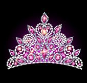 image of crown jewels  - illustration crown tiara women with pink gemstones - JPG