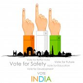 stock photo of election campaign  - illustration of hand with voting sign of India - JPG
