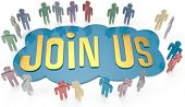 picture of joining  - People group around Join Us invitation for social or business website icon - JPG