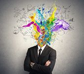 pic of think positive  - Concept of creative mind with colorful effect - JPG