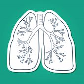 stock photo of tuberculosis  - Sketch sticker vector element for medical or health care design - JPG