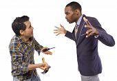 foto of snob  - business executive being bossy to a blue collar worker - JPG