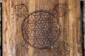 foto of tetrahedron  - Wooden Flower of Life - JPG