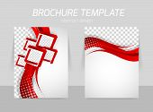 picture of red back  - Flyer back and front template design with red wave line and squares - JPG