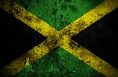 image of jamaican flag  - grunge flag of Jamaica with capital in Kingston - JPG