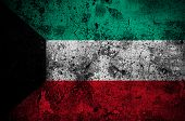 picture of kuwait  - grunge flag of Kuwait with capital in Kuwait City - JPG