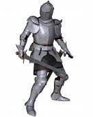stock photo of knights  - Fifteenth Century late Medieval Knight in Northern Italian Milanese Armour with sword - JPG