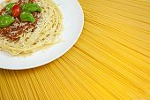 Plate Of Spaghetti Bolognese On A Sunny Display Of Dried Pasta poster