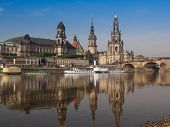stock photo of trinity  - Dresden Cathedral of the Holy Trinity aka Hofkirche Kathedrale Sanctissimae Trinitatis in Dresden Germany seen from the Elbe river - JPG