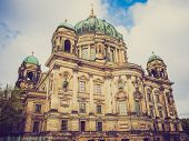 picture of dom  - Vintage looking Berliner Dom cathedral church in Berlin Germany - JPG