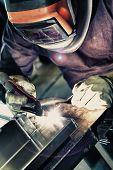 image of welding  - Welder worker to welding aluminum materials - JPG