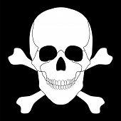 stock photo of skull crossbones  - Vector illustration of a white skull and crossbones on a black background - JPG