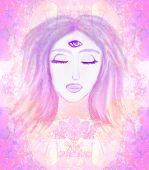 picture of supernatural  - Woman with third eye psychic supernatural senses  - JPG
