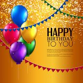 picture of birthday  - Vector birthday card with balloons - JPG