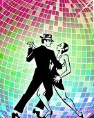 picture of ballroom dancing  - Man and woman dancing tango in front of dancing ball - JPG