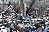 picture of tragic  - Burned sweatshop garment factory after fire disaster - JPG