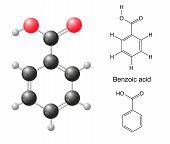 stock photo of skeletal  - Structural chemical formulas and model of benzoic acid molecule - JPG