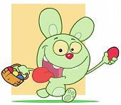 Hyper Green Bunny Rabbit With Its Tongue Hanging Out, Running And Holding Up An Egg And Carrying A B poster