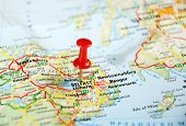 picture of ireland  - Belfast Ireland United Kingdom map and pin - Travel concept ** Note: Shallow depth of field - JPG
