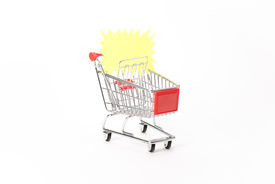 image of caddy  - Caddy for shopping with discount coupon on white background - JPG