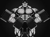 stock photo of muscle builder  - Vector illustration - JPG