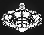 image of muscle builder  - Bodybuilder posing showing big muscles - JPG