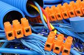 image of electrical engineering  - Blue cables and electrical component for installation - JPG