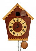 stock photo of pendulum clock  - Wooden vintage Cuckoo Clock isolated on white - JPG