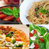 image of vegan  - healthy Vegetarian vegan food collage nested on white frame - JPG
