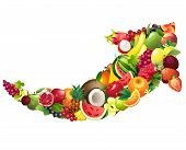 image of compose  - Vector illustration Arrow composed of different fruits with leaves - JPG