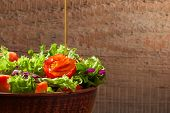 picture of vegetarian meal  - Fresh green organic salade on wooden background - JPG