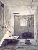 foto of lockups  - Suicide noose in the prison cell interior - JPG