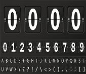 stock photo of numbers counting  - Table flap clock and number counter template plus all numbers with flips - JPG