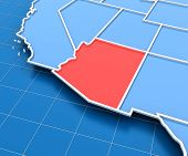 picture of usa map  - 3d render of USA map with Arizona state highlighted in red - JPG