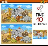 foto of preschool  - Cartoon Illustration of Finding Differences Educational Game for Preschool Children - JPG