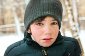 pic of crying boy  - preteen boy cry frustrated after tearing his jacket - JPG