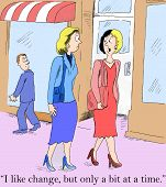 picture of change management  - Cartoon of two businesswomen - JPG