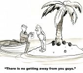 image of irs  - Cartoon of man living on deserted island but the tax man has found him - JPG