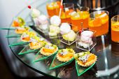 foto of buffet  - Thailand dessert made from fruits in the buffet line - JPG