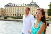 stock photo of visitation  - Stockholm couple at Drottningholm palace - JPG