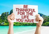 picture of thankful  - Be Thankful for the Life You Have card with beach background - JPG