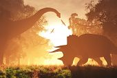 picture of mystique  - Dinosaurs in Prehistoric Jungle in the Sunset Sunrise 3D Artwork - JPG