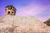 pic of karnataka  - Ancient watch tower and brick wall at royal center in Hampi Karnataka India - JPG