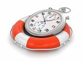 stock photo of stopwatch  - Stopwatch and lifebuoy - JPG