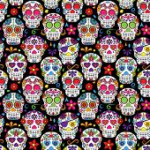 pic of skull bones  - Day of the Dead Sugar Skull Seamless Vector Background - JPG