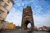 stock photo of eastern culture  - Tourism and sightseeing view over Old Town Eastern tower of Charles Bridge Prague famous sight of Prague - JPG
