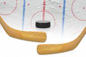image of hockey arena  - Two hockey sticks puck and hockey field - JPG